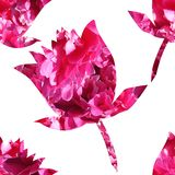 无缝的样式,花剪影印度莲花,明亮的多彩多姿的纹理 向量例证