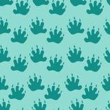 无缝的样式:在蓝色背景的脚印 o 向量例证