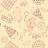 无缝的样式:甜点。 库存图片
