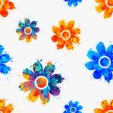 无缝的样式-水彩花 图库摄影