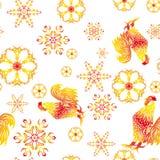 无缝的样式-年火热的公鸡 免版税库存照片