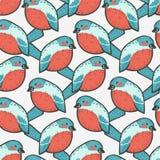 无缝的样式-红腹灰雀鸟 库存例证