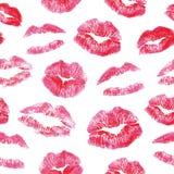 无缝的样式-红色嘴唇亲吻印刷品 免版税图库摄影