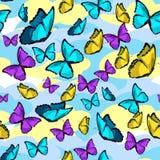 无缝的样式蝴蝶蓝色morpho国君传染媒介 图库摄影