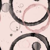 无缝的样式-黑色和桃红色弄脏了圈子-咖啡污点背景 免版税库存照片