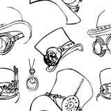 无缝的样式steampunk 抽象背景,剪影 免版税库存照片