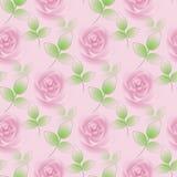 无缝的桃红色玫瑰和绿色叶子在桃红色 库存照片