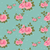 无缝的桃红色玫瑰样式 免版税库存图片