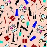 无缝的桃红色背景,化妆用品 免版税库存照片