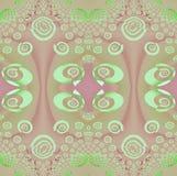 无缝的椭圆和螺旋仿造薄荷的绿色桃红色紫罗兰 免版税图库摄影