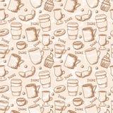 无缝的概略咖啡杯样式 免版税库存照片