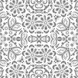 无缝的概述花卉样式 免版税库存照片