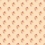 无缝的模式或纹理用甜杯形蛋糕 免版税库存图片