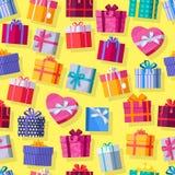无缝的模式礼物盒 库存图片