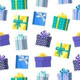无缝的模式礼物盒 免版税库存照片