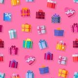 无缝的模式礼物盒 免版税图库摄影
