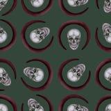 无缝的模式 一块头骨与组成和环绕红色框架 向量例证