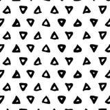 无缝的模式 与三角刷子冲程的抽象背景 单色手拉的纹理 免版税库存照片