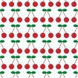 无缝的模式 与绿色叶子的红色樱桃 樱桃园 也corel凹道例证向量 能为墙纸,纺织品使用, 库存例证