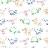 无缝的模式 与颜色宠物(猫、鸟、草龟和狗)的孩子乱画 向量 皇族释放例证