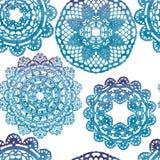 无缝的模式 典雅的有花边的水彩小垫布 向量例证