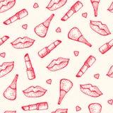 无缝的模式 唇膏、嘴唇和指甲油 免版税库存图片