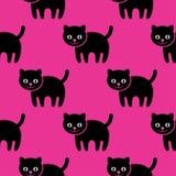 无缝的模式 在桃红色背景的小猫 库存照片