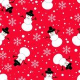 无缝的模式 在红色背景的雪人 免版税库存照片