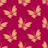 无缝的模式 在红色背景的蝴蝶 图库摄影