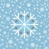 无缝的模式 在蓝色背景的冬天雪花 免版税库存照片