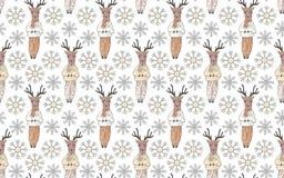 无缝的模式 在衣裳和雪花的鹿在白色背景 皇族释放例证