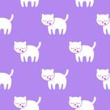 无缝的模式 在紫色背景的小猫 库存图片