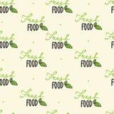 无缝的模式 手拉有机 新鲜食品字法 素食主义者,100自然食物,有机产品,素食主义者,本地出产 brusher 向量例证