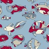 无缝的模式水族馆鱼通知 免版税图库摄影