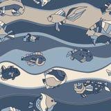 无缝的模式水族馆鱼通知 图库摄影
