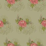 无缝的模式 牡丹花的美好的安排在绿色背景的 库存例证