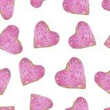 无缝的模式 红色上升了 精美爱 手拉的水彩心形桃红色油炸圈饼 向量例证