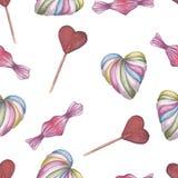 无缝的模式 红色上升了 精美爱 手拉的水彩心形糖果和棒棒糖 库存例证
