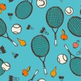 无缝的模式 网球和羽毛球 免版税库存照片