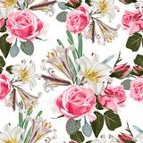 无缝的模式 美丽的织品开花的现实花 库存例证
