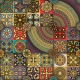 无缝的模式 装饰要素葡萄酒 背景被画的现有量 回教,阿拉伯语,印地安人,无背长椅主题 为打印完善 库存照片