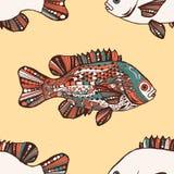 无缝的模式 鱼 手拉的幻想鱼 免版税库存图片