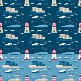 无缝的模式 鲸鱼和灯塔 免版税库存照片