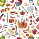 无缝的模式 bbq党的不同的食物 向量例证
