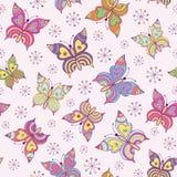 无缝的模式witn五颜六色的蝴蝶 库存图片