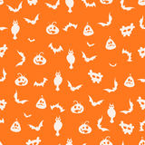 无缝的橙色万圣夜背景-例证 免版税库存图片
