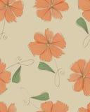 无缝的橙色花纹花样 库存图片