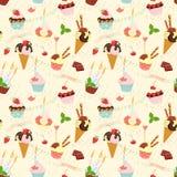 无缝的欢乐生日蛋糕和冰淇凌样式 平的猪圈 库存图片