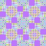无缝的正方形、圈子和条纹仿造紫色黄色桃红色绿松石 库存照片
