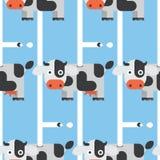 无缝的母牛和牛奶样式 库存例证